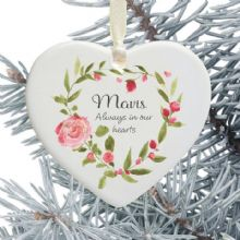 In Loving Memory Personalised Remembrance Heart Christmas Tree Decoration - Pink Floral Heart